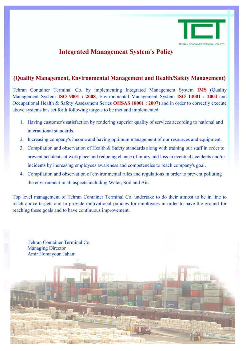 TCT Integrated Management System's Policy
